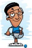 Confident Cartoon Black Racquetball Player. A cartoon illustration of a black man racquetball player looking confident royalty free illustration