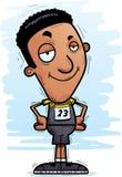 Confident Cartoon Black Track Athlete. A cartoon illustration of a black man track and field athlete looking confident royalty free illustration