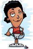 Confident Cartoon Black Badminton Player. A cartoon illustration of a black woman badminton player looking confident royalty free illustration