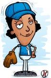 Confident Cartoon Black Baseball Player. A cartoon illustration of a black woman baseball player looking confident vector illustration