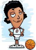 Confident Cartoon Black Basketball Player. A cartoon illustration of a black woman basketball player looking confident vector illustration