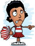 Angry Cartoon Black Woman Cheerleader. A cartoon illustration of a black woman cheerleader looking angry and pointing stock illustration