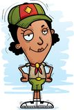 Confident Cartoon Black Woman Scout. A cartoon illustration of a black woman scout looking confident royalty free illustration