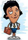 Confident Cartoon Black Woman Student. A cartoon illustration of a black woman student looking confident vector illustration