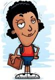 Confident Cartoon Black Woman Student. A cartoon illustration of a black woman student looking confident royalty free illustration