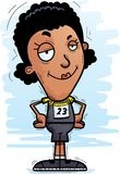 Confident Cartoon Black Track Athlete. A cartoon illustration of a black woman track and field athlete looking confident vector illustration