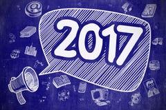 2017 - Cartoon Illustration on Blue Chalkboard. 2017 on Speech Bubble. Cartoon Illustration of Shouting Mouthpiece. Advertising Concept. Speech Bubble with vector illustration