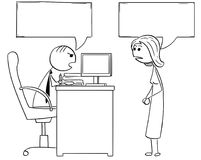 Cartoon Illustration of  Boss Manager Talking with Female Employ Royalty Free Stock Image