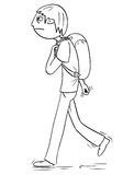 Cartoon Illustration of Boy with Backpack or Schoolbag Walking Stock Photos