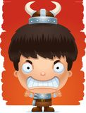 Angry Cartoon Boy Barbarian. A cartoon illustration of a boy barbarian with an angry expression Royalty Free Stock Image