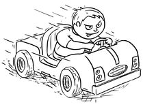 Cartoon Illustration of Boy Driving Electric or Pedal Car Royalty Free Stock Image