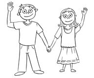 Cartoon Illustration of Boy and Girl Holding Each Other`s Hands Stock Photo