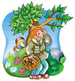 Boy lost in the woods. Cartoon illustration of a boy lost in the woods Royalty Free Stock Images