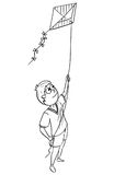 Cartoon Illustration of Boy Playing with Kite Stock Photos