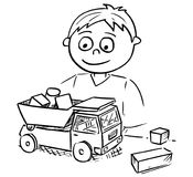 Cartoon Illustration of Boy Playing with Toy Car and Wooden Bric Royalty Free Stock Photography