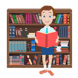 Cartoon illustration with a boy reading a book and library Stock Photo