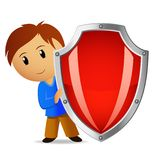 Cartoon illustration of boy with red shield. Vector illustration. Cartoon funny boy with red shield Stock Images