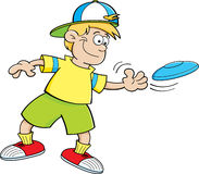 Cartoon boy playing with a flying disc Stock Images