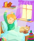 Cartoon illustration  Boy Wake up in the morning Stock Image