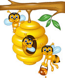 Cartoon illustration of branch of a tree with a beehive and bees. Illustration of branch of a tree with a beehive and bees vector illustration