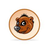 Cartoon Illustration of a Brown Bear Head. Royalty Free Stock Photos
