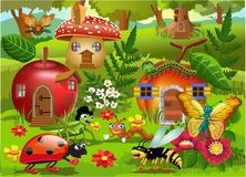 Cartoon illustration of bug world with insects houses vector illustration