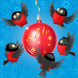 Cartoon illustration with bullfinches and Christmas ball on the theme of winter sales Royalty Free Stock Image