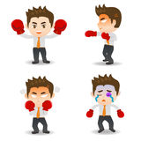 Cartoon illustration Business man boxing Stock Photography