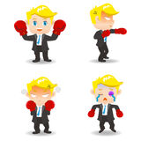 Cartoon illustration Business man boxing Royalty Free Stock Photo