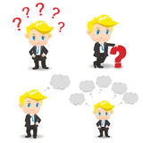 Cartoon illustration Business man question Royalty Free Stock Image