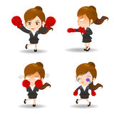 Cartoon illustration Business woman boxing Royalty Free Stock Photos
