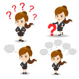 Cartoon illustration Business woman question Stock Photography