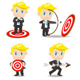 Cartoon illustration Businessman archery target Royalty Free Stock Images