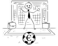 Cartoon Illustration of Businessman as Soccer Football Goal Keep. Conceptual cartoon vector illustration of stick man businessman as football soccer goal keeper Stock Photos