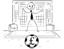 Cartoon Illustration of Businessman as Soccer Football Goal Keep. Conceptual cartoon vector illustration of stick man businessman as football soccer goal keeper Stock Image