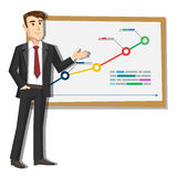 Cartoon illustration of businessman on the background of the graph Stock Photography