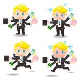 Cartoon illustration Businessman busy Stock Photo