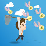 Cartoon illustration businessman catching money Stock Photos