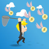 Cartoon illustration businessman catching money Stock Images