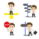 Cartoon illustration Businessman choose directions Royalty Free Stock Image