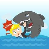Cartoon illustration Businessman crisis Royalty Free Stock Photo