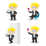 Cartoon illustration Businessman drink Royalty Free Stock Images
