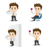 Cartoon illustration Businessman drink Stock Photography