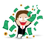 Cartoon illustration of businessman with the falling notes Royalty Free Stock Image