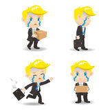 Cartoon illustration Businessman fired Royalty Free Stock Photography
