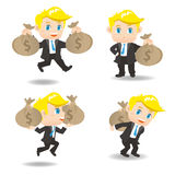 Cartoon illustration Businessman with moneybag Stock Images