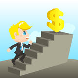 Cartoon illustration Businessman reaching goal Stock Photo