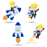 Cartoon illustration Businessman with rocket Stock Image