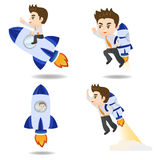 Cartoon illustration Businessman with rocket Royalty Free Stock Images
