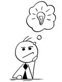 Cartoon Illustration of Businessman Thinking with Light Bulb in Royalty Free Stock Photos